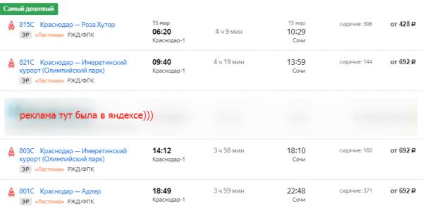 расписание электрички Краснодар-Сочи