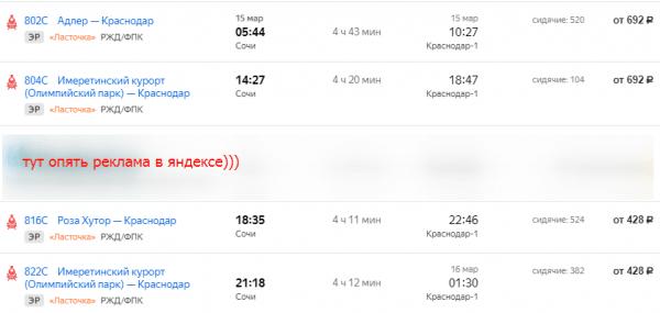расписание электрички Сочи-Краснодар