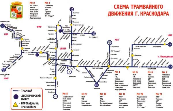 Маршруты трамваев Краснодар