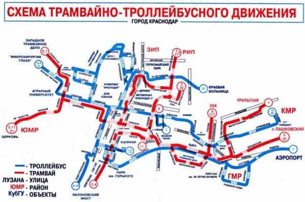 Карта-схема трамваев Краснодара в 2018 году