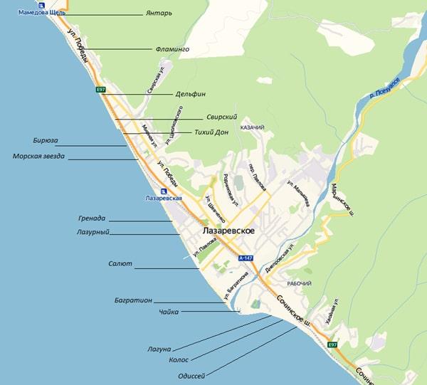 Карта пляжей Лазаревского